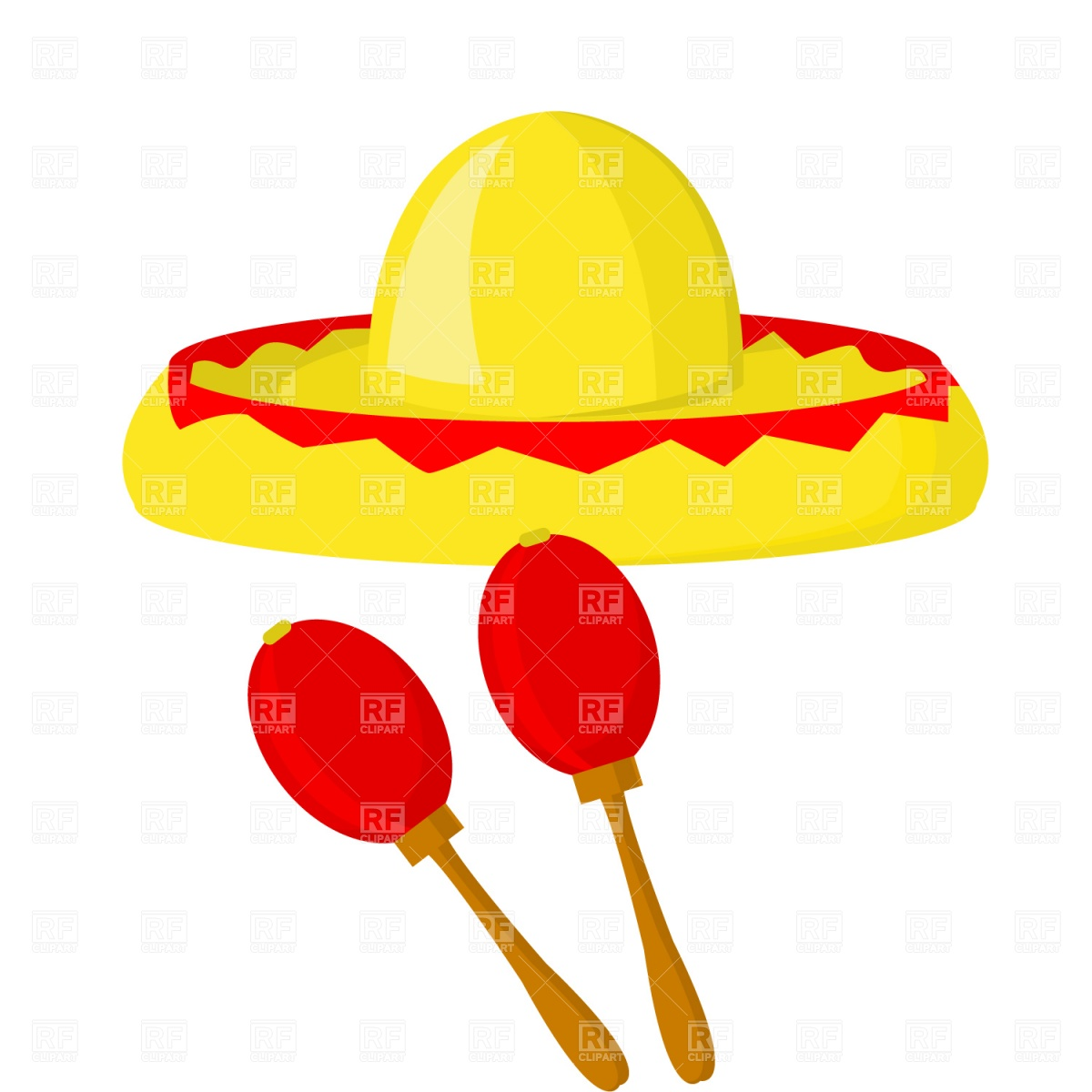 1200x1200 Mexican Maraca Sombrero Vector Image Vector Artwork Of Holiday