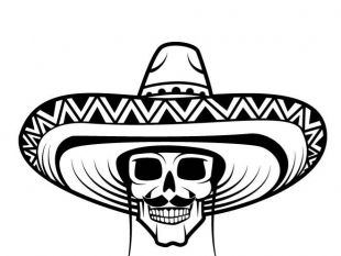 310x233 Skull With Mexican Hat Free Vector Free Vectors Ui Download