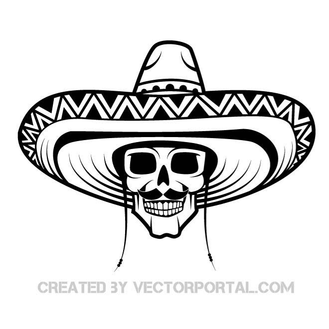660x660 Skull With Mexican Hat Vector Drawing By Vectorportal