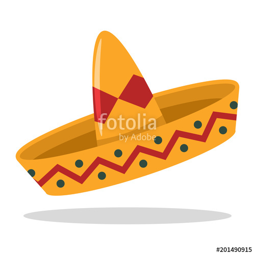 500x500 Sombrero Mexican Hat Vector Cartoon Flat Icon. Stock Image And