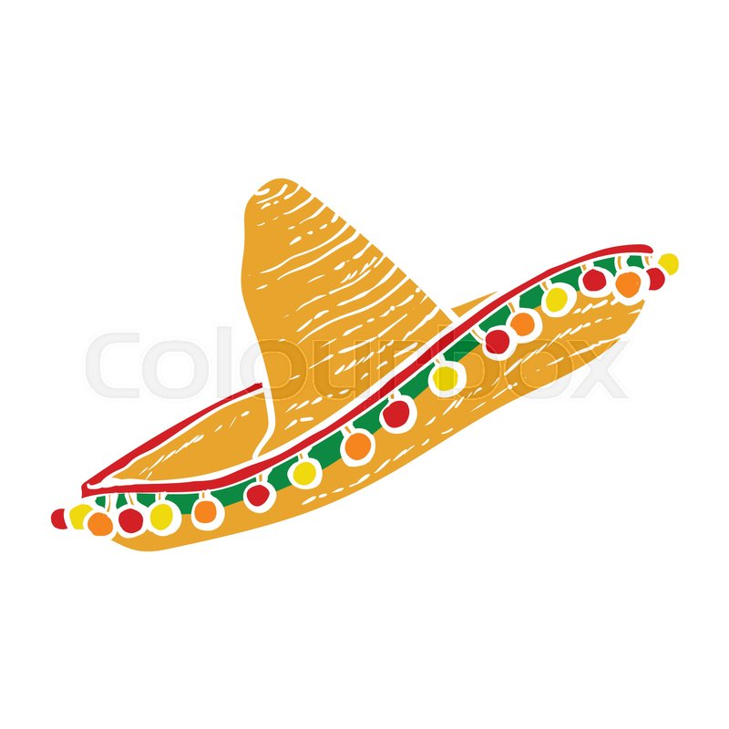 800x800 Traditional Mexican Wide Brimmed Sombrero Hat, Vector Illustration