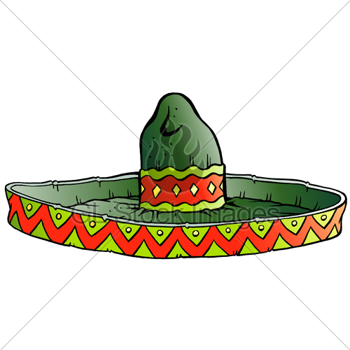 500x500 Vector Cartoon Illustration Of A Big Mexican Sombrero Hat Gl