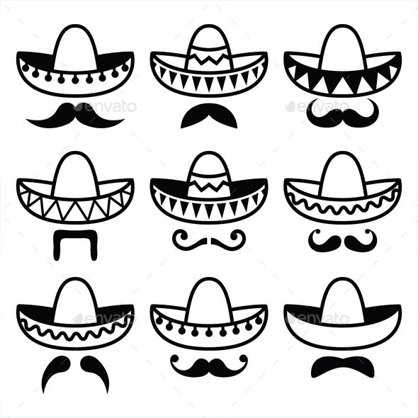 590x590 Vector Black Icons Set Of Sombrero Isolated On White Features 100