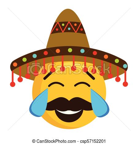 450x470 Happy Emoji With A Mexican Hat. Vector Illustration Design.
