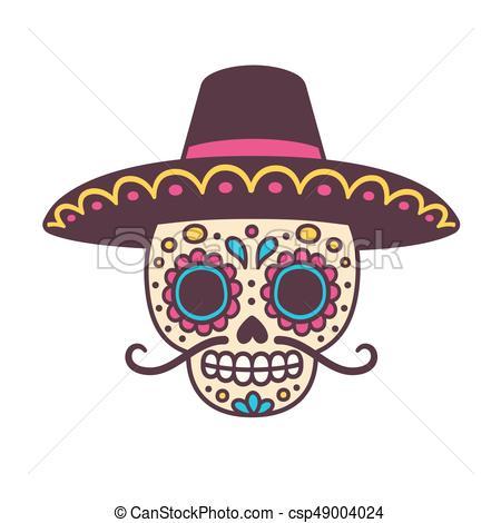 450x470 Cartoon Mexican Skull. Cartoon Mexican Sugar Skull Vector