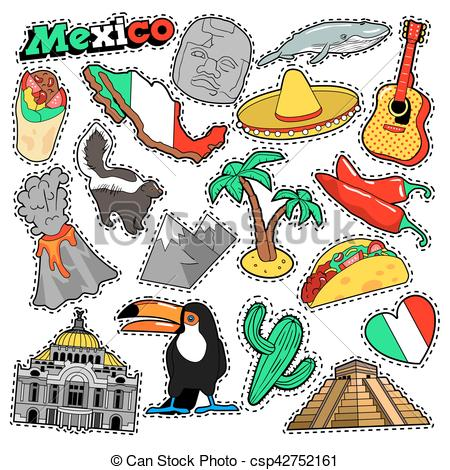 450x470 Mexico Travel Scrapbook Stickers, Patches, Badges For Prints With