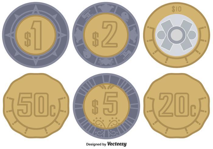 700x490 Monedas Del Peso Mexicano Del Vector Fijaron