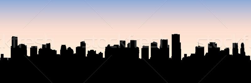 800x266 Miami Skyline Silhouette Vector Illustration Brett Lamb (Blamb