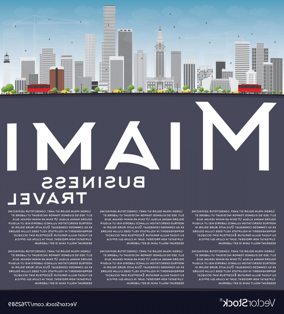 1170x1296 Miami Skyline With Gray Buildings Blue Sky Vector Orangiausa