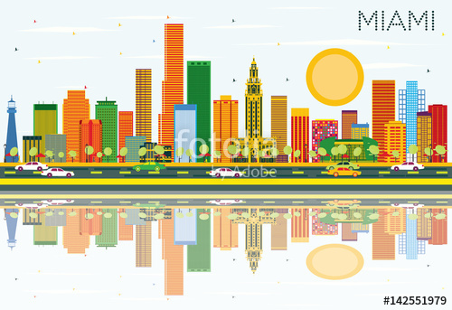 500x343 Miami Skyline With Color Buildings, Blue Sky And Reflections
