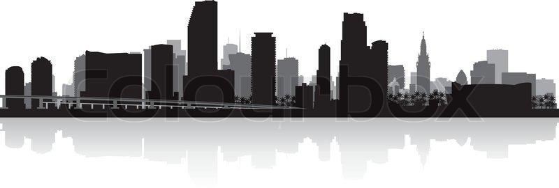 800x270 Miami Usa City Skyline Silhouette Vector Illustration Stock