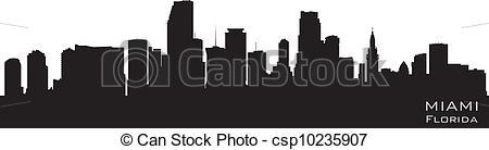 450x138 Miami, Florida Skyline. Detailed Vector Silhouette.