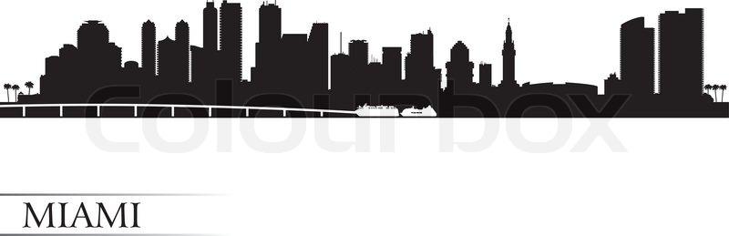 800x259 Miami City Skyline Silhouette Background, Vector Illustration