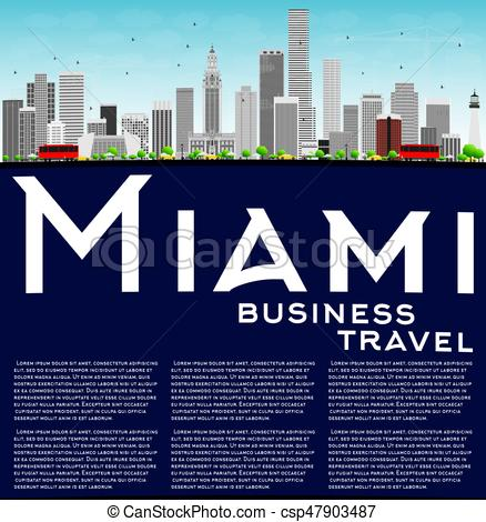 438x470 Miami Skyline With Gray Buildings, Blue Sky And Copy Space. Vector