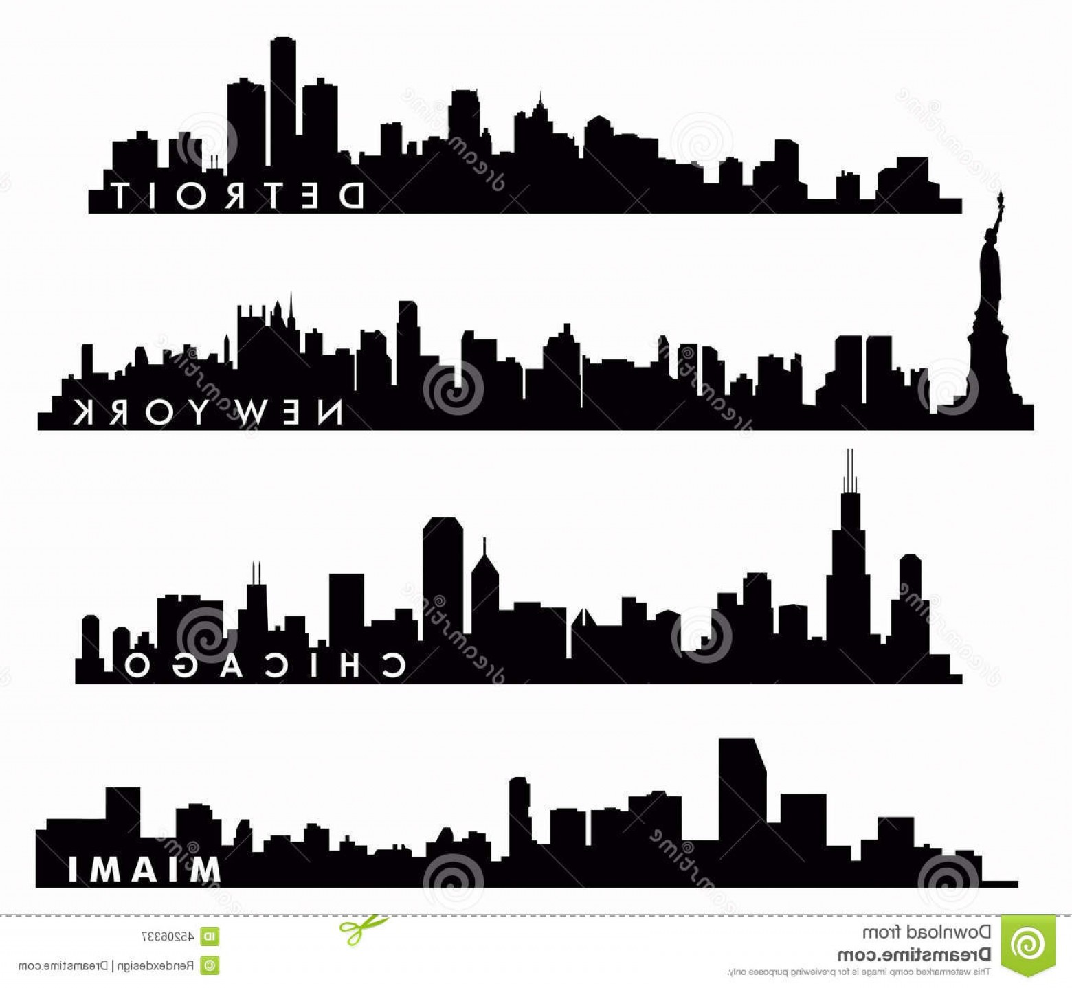1560x1438 Stock Illustration New York Skyline Chicago Skyline Miami Skyline