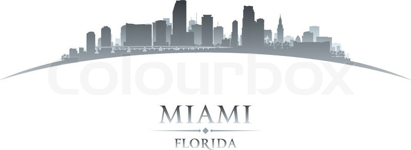 800x292 Miami Florida City Skyline Silhouette. Vector Illustration Stock