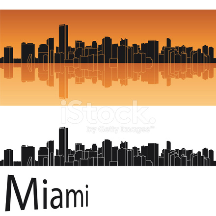 440x440 Miami Skyline In Orange Background Stock Vector