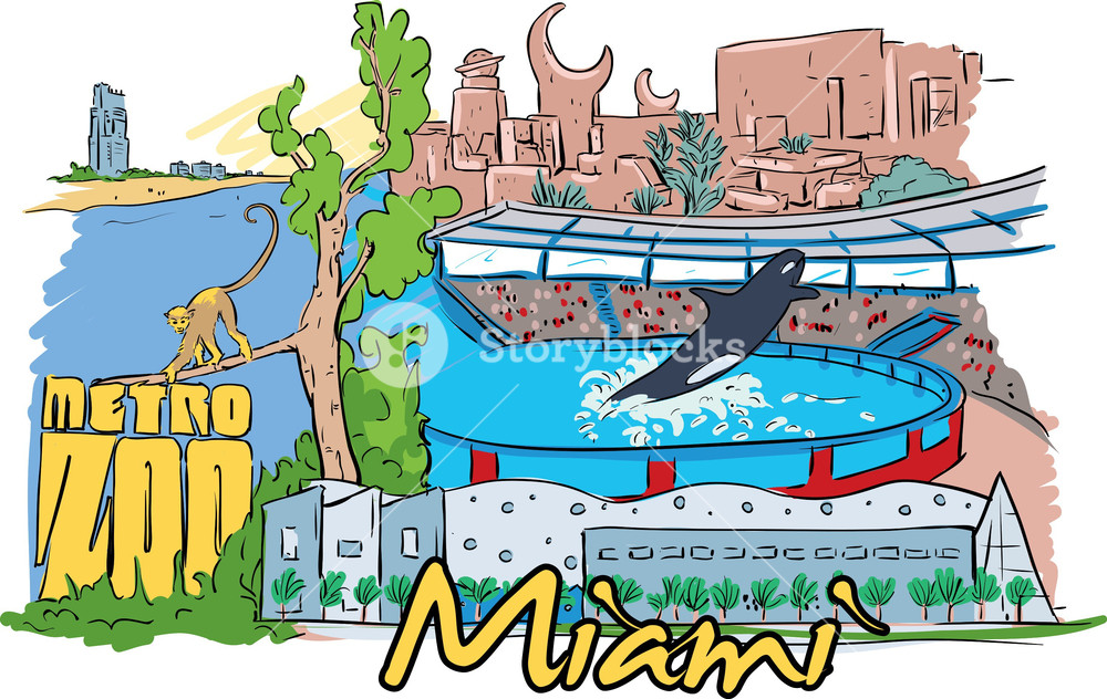 1000x632 Miami Vector Doodle Royalty Free Stock Image