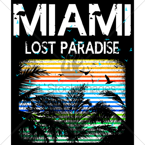 500x500 Miami Vector Illustration Concept In Vintage Graphic Styl... Gl