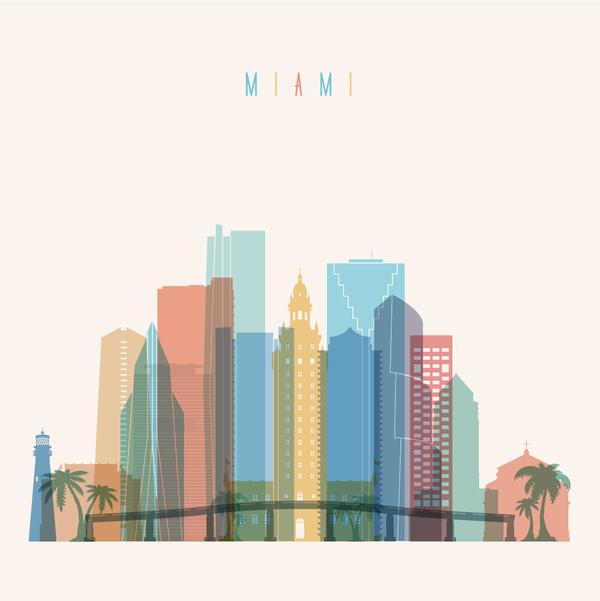 600x601 Miami Building Vector Illustration Free Download