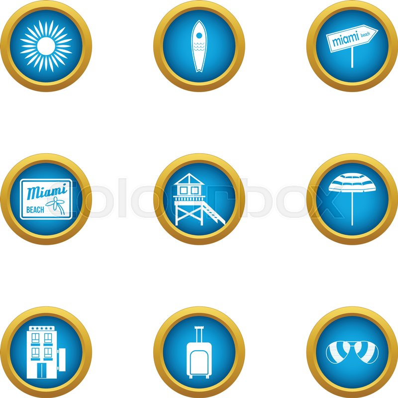 800x800 Miami Icons Set. Flat Set Of 9 Miami Vector Icons For Web Isolated