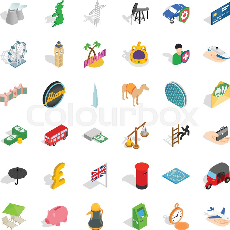 800x800 Miami Icons Set. Isometric Style Of 36 Miami Vector Icons For Web