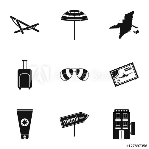 500x500 Miami Icons Set. Simple Illustration Of 9 Miami Vector Icons For