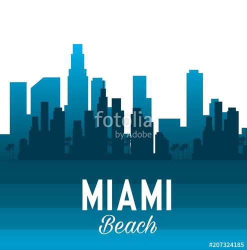 494x500 Miami Beach Cityscape Scene Vector Illustration Design Stock
