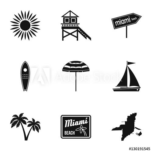 500x500 City Miami Icons Set. Simple Illustration Of 9 City Miami Vector