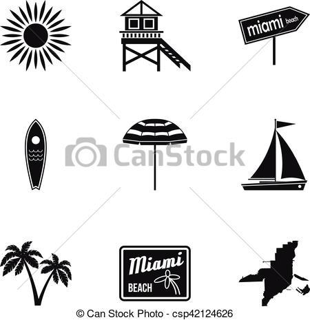 450x465 City Miami Icons Set, Simple Style. City Miami Icons Set. Simple