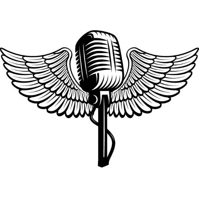 642x640 Microphone Logo 1 Wings Audio Sound Recording Music Etsy