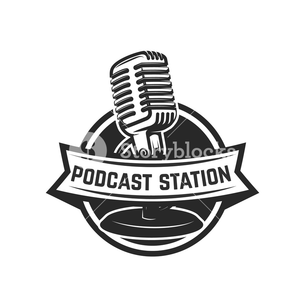 1000x1000 Podcast Station. Emblem Template With Retro Microphone. Design
