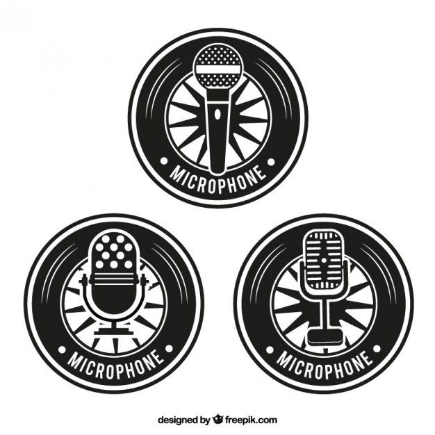 626x626 Retro Microphone Badges Vector Free Download