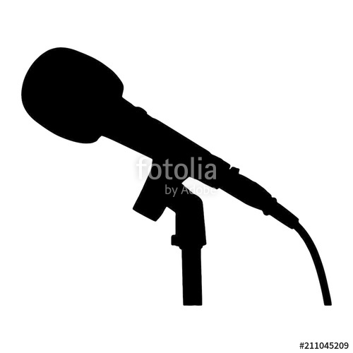 500x500 Black And White Microphone With Stand And Cable Silhouette Stock