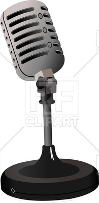 195x400 Vintage Microphone On Round Stand Vector Image Vector Artwork Of