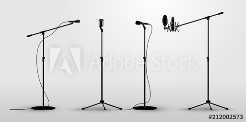 500x249 Set Of Microphones On Counter. Flat Design Silhouette Microphone