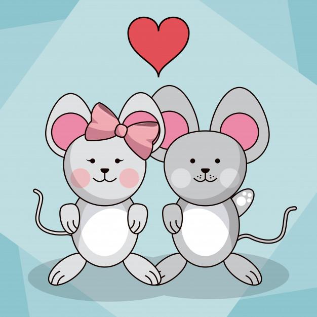 626x626 Loving Couple Mice Vector Premium Download