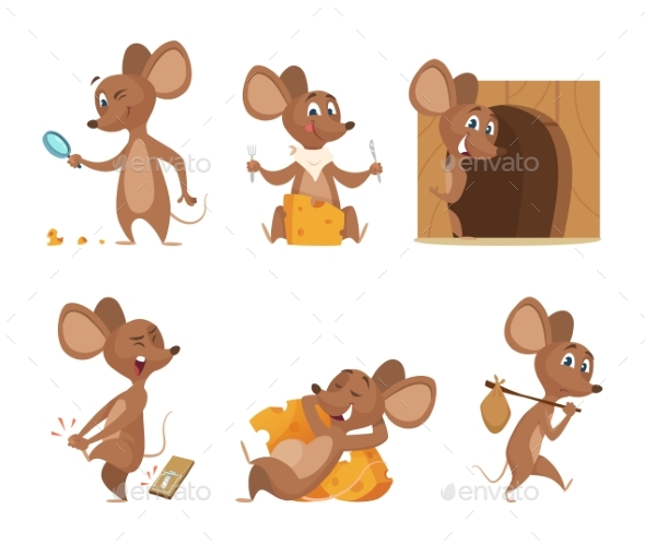 590x498 Mouse Character. Funny Cartoon Mice. Vector By Onyxprj Graphicriver