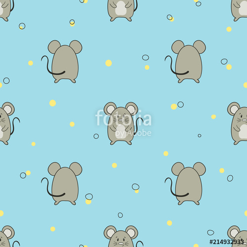 500x500 Seamless Pattern With Cute Little Mice. Vector Mouse Background