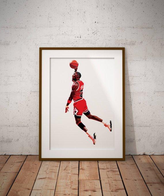 570x684 Michael Jordan Vector Illustration Print Sports Art Print Etsy