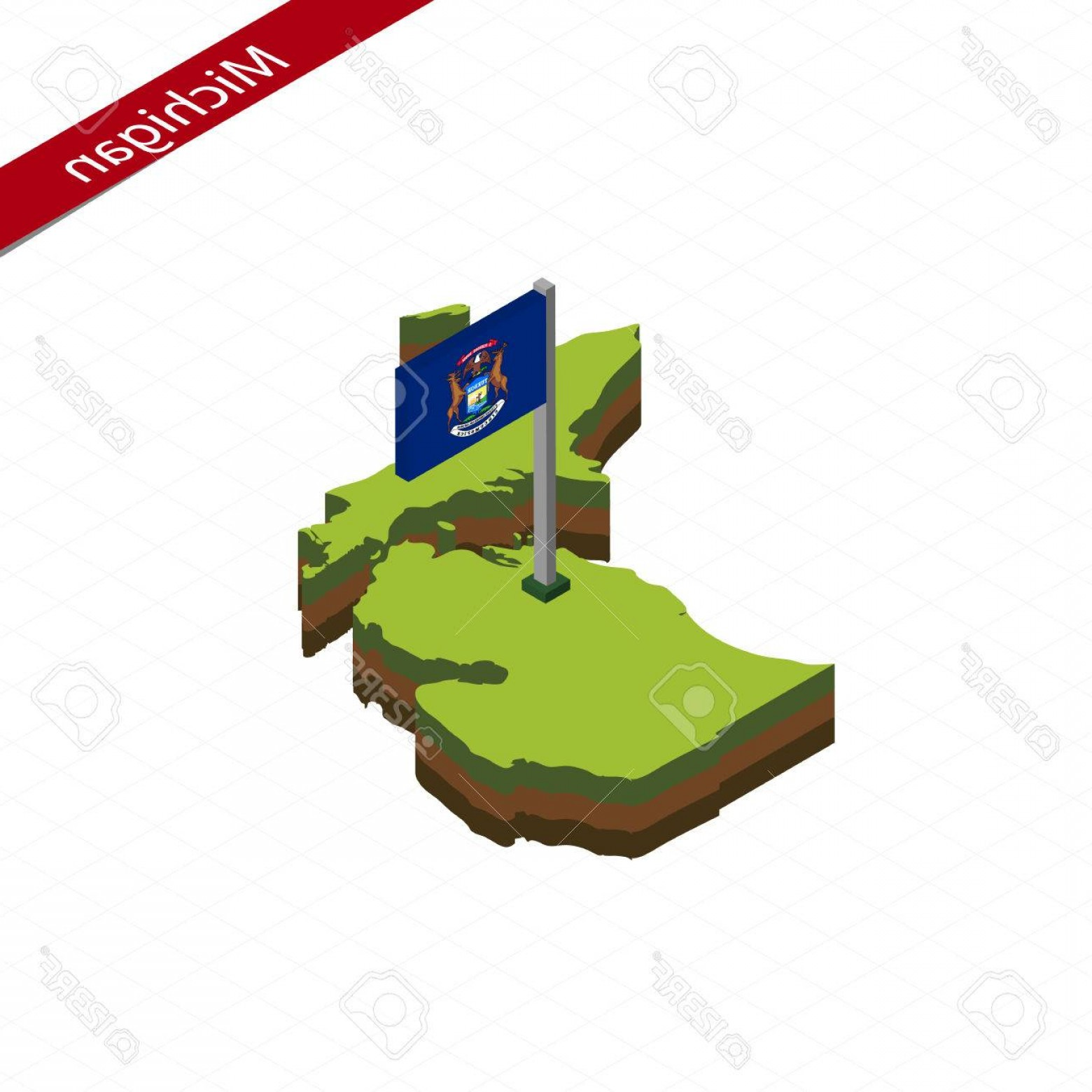 1560x1560 Photostock Vector Isometric Map And Flag Of Michigan D Isometric