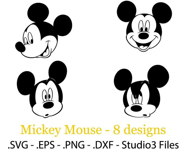 642x524 Mickey Mouse 8 Face Designs. Vector Cuttable Files. Eps. Etsy