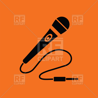 400x400 Karaoke Microphone Icon On Orange Background Vector Image Vector