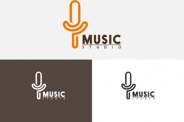 600x399 Music Studio Logo Sets Microphone Symbol And Text Free Vector In