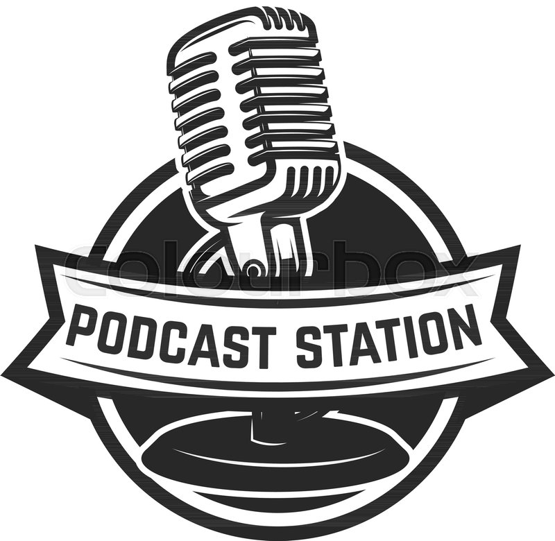 800x780 Podcast Station. Emblem Template With Retro Microphone. Design