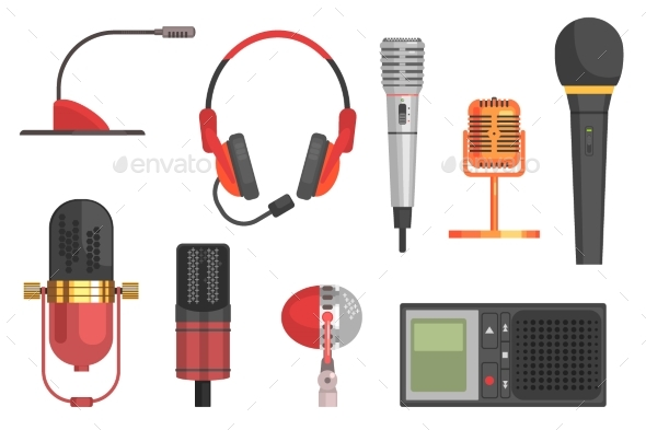 590x393 Microphone Vector Illustration Set By Top Vectors Graphicriver
