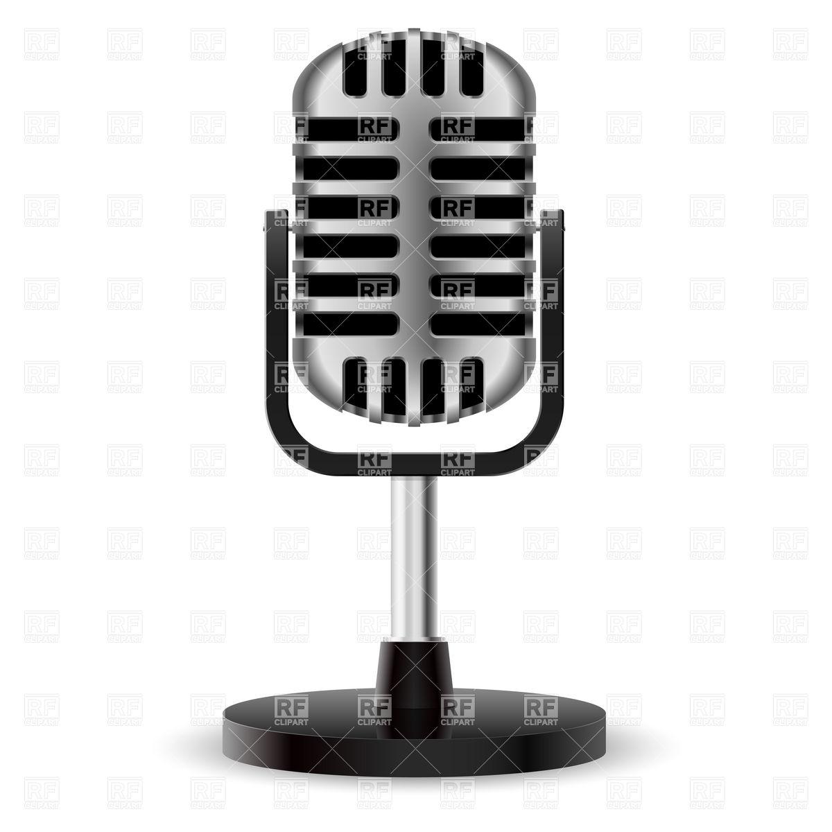1200x1200 Chrome Retro Desktop Microphone Vector Image Vector Artwork Of