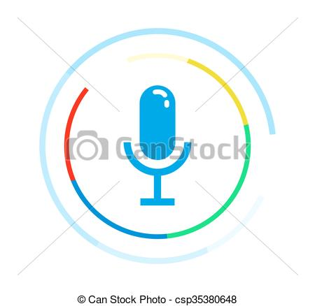 450x438 Microphone Vector Icon. Voice Control Application Logo Concept