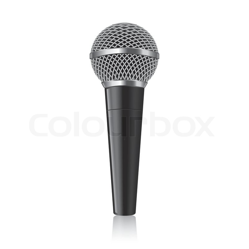 800x800 Modern Microphone Isolated On White Photo Realistic Vector