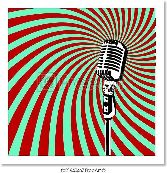 561x581 Free Art Print Of Retro Microphone Vector. Retro Microphone For